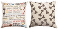 """""""A DOG'S LIFE"""" REVERSIBLE THROW PILLOW - 18"""" SQUARE - GIFTS FOR DOG LOVERS"""