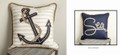 """SHIPS ANCHOR"" REVERSIBLE PILLOW - 17"" SQUARE - NAUTICAL DECOR"
