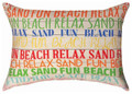 """A DAY AT THE BEACH"" INDOOR OUTDOOR THROW PILLOW - 18"" X 13"" - BEACH DECOR"