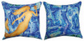 """OCEAN TREASURES"" INDOOR OUTDOOR REVERSIBLE MERMAID PILLOW - 18"" SQUARE - NAUTICAL DECOR"