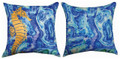"""OCEAN TREASURES"" INDOOR OUTDOOR REVERSIBLE SEAHORSE PILLOW - 18"" SQUARE - NAUTICAL DECOR"