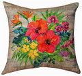 """TROPICAL FLORAL"" LINEN THROW PILLOW - 18"" SQUARE - ISLAND DECOR"