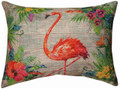 """TROPICAL FLAMINGO"" LINEN THROW PILLOW - 18"" X 12"" - ISLAND DECOR"