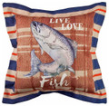 """FISH THE LAKE"" THROW PILLOW - 18"" SQUARE - LAKE HOUSE DECOR"