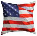 """AMERICAN FLAG"" INDOOR OUTDOOR THROW PILLOW - 18"" SQUARE - PATRIOTIC DECOR"
