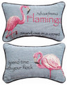 """ADVICE FROM A FLAMINGO"" REVERSIBLE THROW PILLOW - 12.5"" x 8.5"" - TROPICAL DECOR"
