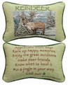 """ADVICE FROM A REINDEER"" REVERSIBLE THROW PILLOW - 12.5"" x 8.5"" - LODGE DECOR"