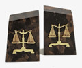 """SCALES OF JUSTICE"" TIGER EYE MARBLE BOOKENDS - LAWYERS & LEGAL"
