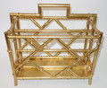 """CANTON"" BAMBOO LOOK MAGAZINE RACK - GOLD FINISH - MAGAZINE HOLDER"
