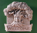 """FOREST FRIENDS"" WELCOME STONE WALL SCULPTURE - NATURAL STONE FINISH"