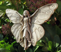 GARDEN PLAQUES - BUTTERFLY FAIRY STONE WALL SCULPTURE - AGED STONE FINISH