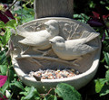 BIRD FEEDERS - BIRDS ON BRANCH STONE BIRD FEEDER - NATURAL STONE FINISH
