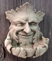 BIRD FEEDERS - SMILING GREEN MAN STONE BIRD FEEDER - AGED STONE FINISH