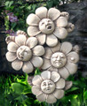 GARDEN PLAQUES - FLOWER BLOSSOMS STONE WALL SCULPTURE - AGED STONE FINISH