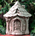 "GARDEN DECOR - ""WOODLAND FRIENDS"" STONE COTTAGE - AGED STONE - GARDEN SCULPTURE"