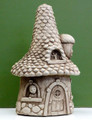 "GARDEN DECOR - ""PINECONE MANOR"" STONE COTTAGE - AGED STONE - GARDEN SCULPTURE"