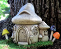 "GARDEN DECOR - ""MUSHROOM MANOR"" STONE COTTAGE - AGED STONE - GARDEN SCULPTURE"