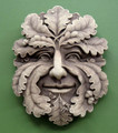 "GARDEN PLAQUES - ""OAK LEAF GREEN MAN"" STONE WALL SCULPTURE - AGED STONE FINISH"