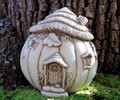 "GARDEN DECOR - ""PUMPKIN MANOR"" STONE COTTAGE - AGED STONE - GARDEN SCULPTURE"