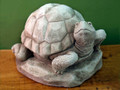 "GARDEN DECOR - ""TENDER TURTLE"" STONE SCULPTURE - AGED STONE FINISH - GARDEN STATUE"