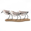 SANDERLING TRIO TABLETOP SCULPTURE - WOOD & METAL - COASTAL DECOR