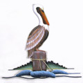 PELICAN ON PILING WALL SCULPTURE - NAUTICAL DECOR - COASTAL