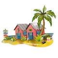 WALL SCULPTURES - PARADISE BEACH BUNGALOWS METAL WALL SCULPTURE - COASTAL DECOR