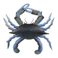 BLUE CRAB METAL WALL SCULPTURE - COASTAL & NAUTICAL DECOR