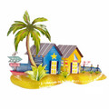 SUNSET BEACH BUNGALOWS METAL WALL SCULPTURE - COASTAL DECOR