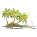 """SAILING TO TROPICAL SHORES"" METAL WALL SCULPTURE - PALM TREES"