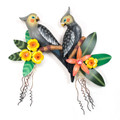 COCKATIELS & TROPICAL FLOWERS WALL SCULPTURE - TROPICAL DECOR