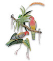 ROSELLAS AMONG BROMELIADS WALL SCULPTURE - TROPICAL DECOR