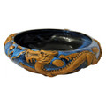 """IMPERIAL DRAGON"" HANDMADE POTTERY BOWL - BLUE ON BLACK - 3D DRAGON BOWL"