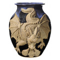 """FIRE BREATHING DRAGON"" HANDMADE 3D POTTERY VASE - BLUE ON BLACK"