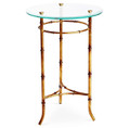 SHANGHAI GARDEN STYLIZED BAMBOO ROUND GLASS TOP SIDE TABLE - ANTIQUE GOLD FINISH