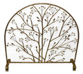 """ENGLISH GARDEN"" ARCHED FIREPLACE SCREEN WITH MESH BACKING - ITALIAN GOLD PATINA"