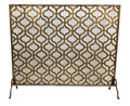 """KINGS CROSS"" QUATREFOIL FIREPLACE SCREEN WITH MESH BACK - LARGE - LIGHT BURNISHED GOLD FINISH"