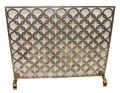 """PICCADILLY CIRCUS"" GEOMETRIC FIREPLACE SCREEN WITH MESH BACK - ITALIAN GOLD FINISH"