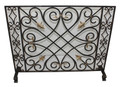 """CHATEAU DE CHAMBORD"" FLEUR DE LIS FIREPLACE SCREEN WITH MESH BACK - BURNISHED GOLD FINISH"