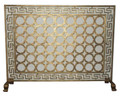 """SANTORINI"" FIREPLACE SCREEN WITH MESH BACK - GREEK KEY BORDER - BURNISHED GOLD"