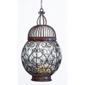 """VENEZIA"" BLOWN GLASS CANDLE LANTERN - DISTRESSED STEEL FINISH"