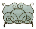 """COVENTRY"" SCROLL DESIGN FIREPLACE SCREEN - WIRE MESH - LIGHT BURNISHED GOLD"