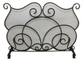 """COVENTRY"" SCROLL DESIGN FIREPLACE SCREEN - WIRE MESH - DARK STAINED GOLD FINISH"