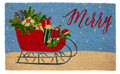 "SLEIGH RIDE COIR DOORMAT - 17"" X 28"" - CHRISTMAS WELCOME MAT"