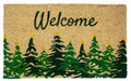 "EVERGREEN TREES COIR WELCOME MAT - 17"" X 28"" - CHRISTMAS DOORMAT"