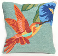"THROW PILLOWS - ""HUMMINGBIRD & TRUMPET FLOWER"" PILLOW - BLUE - 18"" SQUARE"