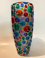"""KALEIDOSCOPE"" ITALIAN CRYSTAL VASE - HAND PAINTED - MULTICOLOR"