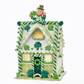 "CHRISTMAS DECORATIONS -""LUCK OF THE IRISH"" LIGHTED GINGERBREAD HOUSE"