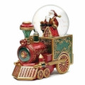 SANTA RIDING THE NORTH POLE EXPRESS TRAIN MUSICAL SNOW GLOBE - CHRISTMAS DECORATION