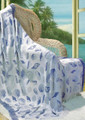 "SEASHELL THROW - NATURAL & PERIWINKLE - 46"" x 60"" - RAYON THROW BLANKET"